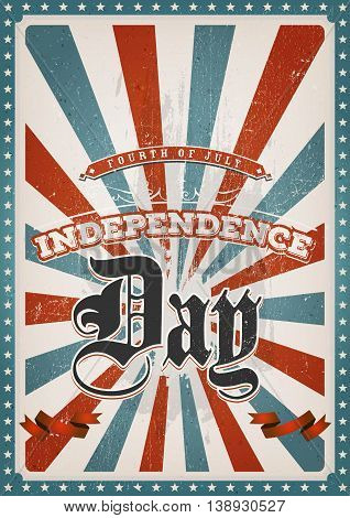 Illustration of an american red and blue fourth of july background for independence day and american holidays with scratched and grunge texture