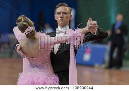 Minsk Belarus -May 28 2016: Unidentified Dance Couple Performs Juvenile-1 Standard European Program on National Championship of the Republic of Belarus in May 28 2016 in Minsk Republic of Belarus