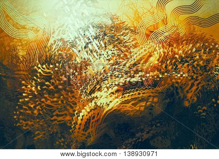 digital painting of abstract orange elements, fantasy aquatic concept