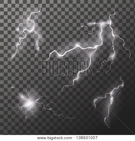 Set of lightnings. Thunder-storm Magic and bright zigzag effects. Vector Illustration