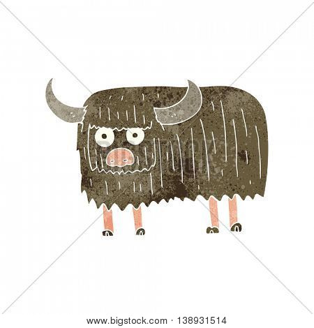 freehand retro cartoon hairy cow