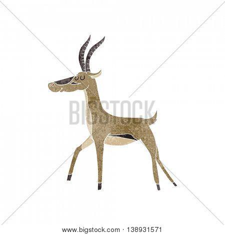 freehand retro cartoon gazelle