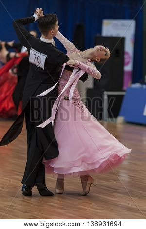 Minsk Belarus -May 28 2016: Moroz Stanislav and Lysyuk Yuliya Perform Youth-2 Standard Program on National Championship of the Republic of Belarus in May 28 2016 in Minsk Belarus