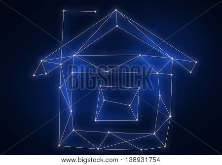 Dream home as night sky constellation on dark background