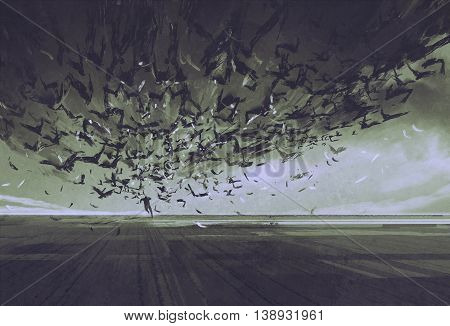attack of crows, man running away from flock of birds, illustration painting