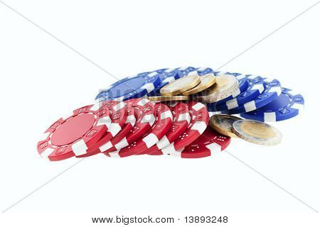 Multicolor Poker Chips And Euro Coins