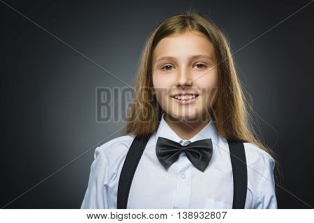 Closeup portrait successful happy girl isolated grey background. Positive human emotion face expression. Life perception achievement vision.