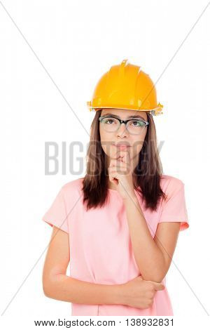 Preteen with construction helmet isolated on white background