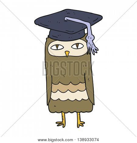 freehand drawn cartoon wise owl
