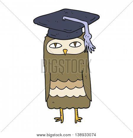 freehand drawn cartoon wise owl
