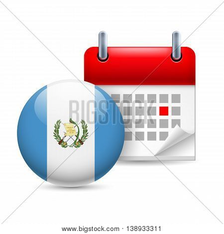 Calendar and round Guatemalan flag icon. National holiday in Guatemala