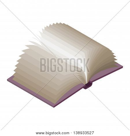 Open Book Isometric On White Background. Paging.