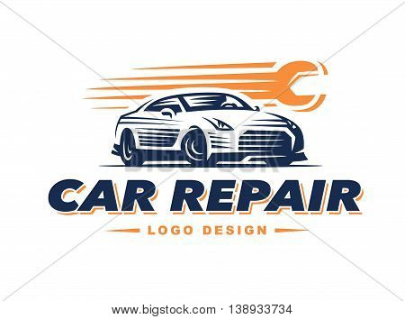 Logo car repair on light background. high speed repair