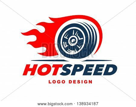 Illustration wheel logo. Fast speed with a fiery trail