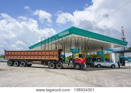 Bongawan,Sabah-July 16,2016:Petronas petrol station at Bongawan,Sabah on 16th July 2016.Its a Malaysian oil & gas company that was founded on 17 August 1974.Wholly owned by the Government of Malaysia