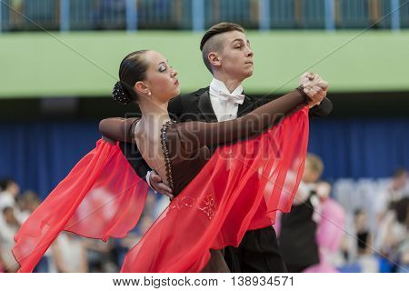 Minsk Belarus -May 28 2016: Mironchik Vladislav and Ermakova Olga Perform Youth-2 Standard Program on National Championship of the Republic of Belarus in May 28 2016 in Minsk Belarus