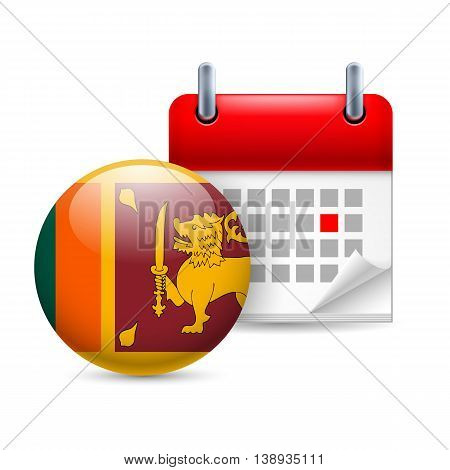 Calendar and round flag icon. National holiday in Sri Lanka