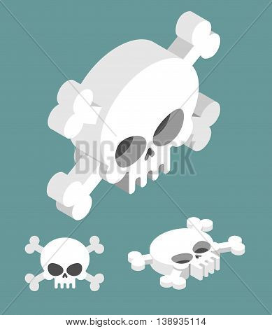 Skull Isometric Set. Head Of Skeleton And Crossbones