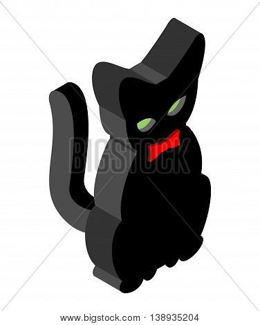 Black Cat Isometrics. Pet With Red Bow Tie. Animal For Witches. Magical Beast Assistant Witch
