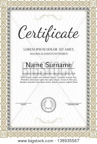 Certificate, Diploma of completion (silver and goold design template, white background) with pattern, scroll border, frame. Vector.