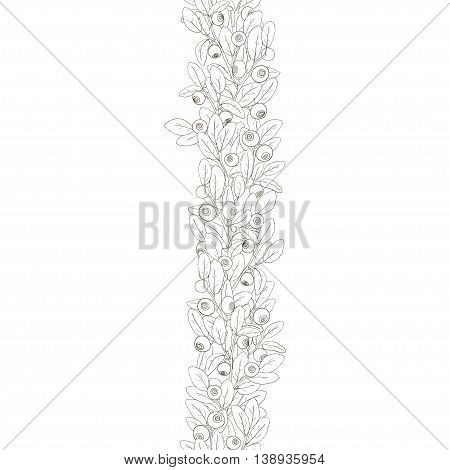 Seamless border of twigs of blueberry with berries and leaves on a white background. Berries hand painted dark lines and painted white. Vector illustration.