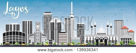 Lagos Skyline with Gray Buildings and Blue Sky. Vector Illustration. Business Travel and Tourism Concept with Modern Buildings. Image for Presentation Banner Placard and Web Site.