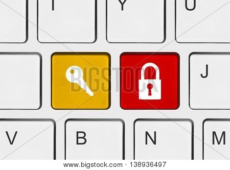 Computer keyboard with two security keys - technology concept