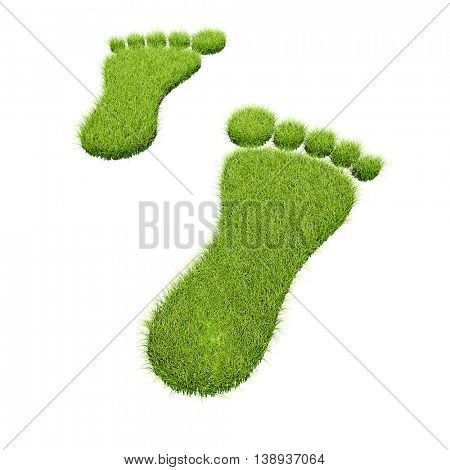 Green grass footprints isolated on white background. Ecology concept 3D rendering.