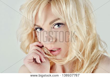 Female Portrait Of Cute Lady Isolated On A White Background. Close Up Beautiful Sexy Model Girl In E