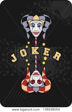 vector illustration of two joker mask on a black background playing card
