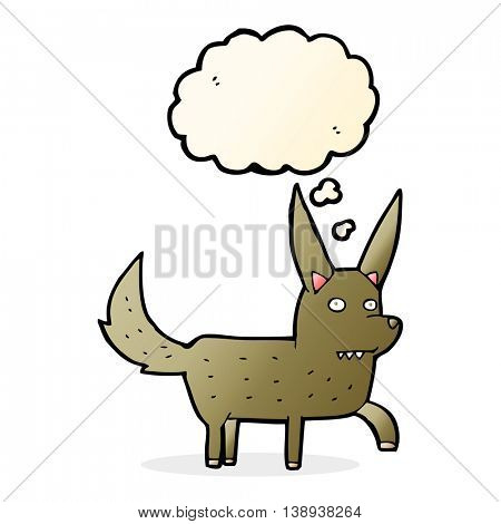 cartoon wild dog with thought bubble
