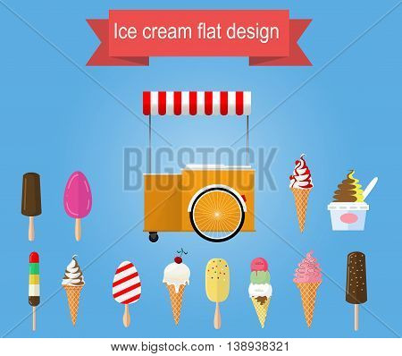 Retro vector ice cream cart with different types of ice cream. Vector flat design