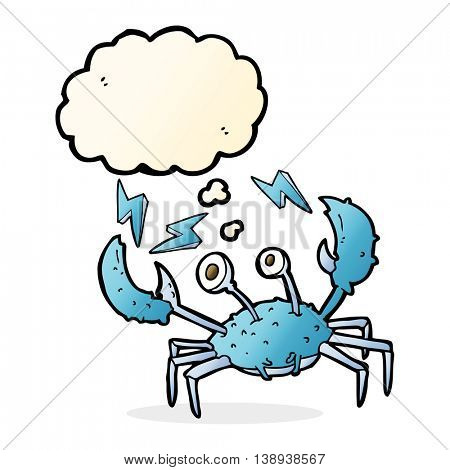 cartoon crab with thought bubble