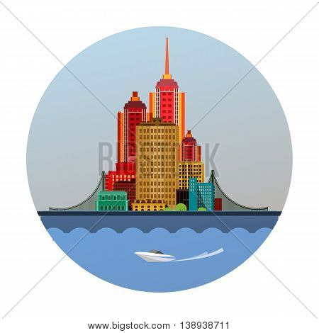 vector illustration round emblem of a huge metropolis with a bridge on the river bank