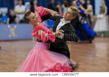Minsk Belarus -May 29 2016: Dubovik Timofey and Zagrebailova Yana Perform Juvenile-2 Latin-American Program on National Championship of the Republic of Belarus in May 29 2016 in Minsk Republic of Belarus