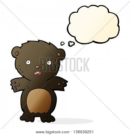 frightened black bear cartoon with thought bubble