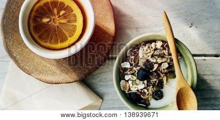 Granola Lemon Tea Morning Meal Breakfast Muesli Concept
