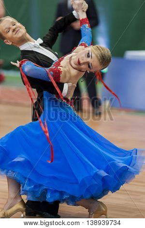 Minsk Belarus -May 28 2016: Prohorenko Dmitry and Rymchenok Valeriya Perform Youth-2 Standard Program on National Championship of the Republic of Belarus in May 28 2016 in Minsk Belarus