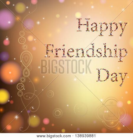 Vector illustration card with colourful text for friendship day.