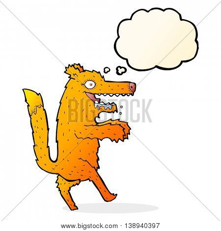 cartoon hungry fox with thought bubble