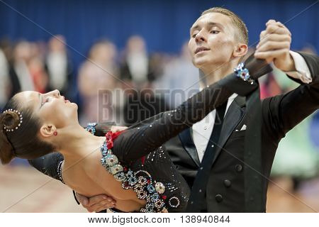 Minsk Belarus -May 28 2016: Oleshkevich Daniil and Bashlaminova Olga perform Youth-2 Standard Program on National Championship of the Republic of Belarus in May 28 2016 in Minsk Belarus