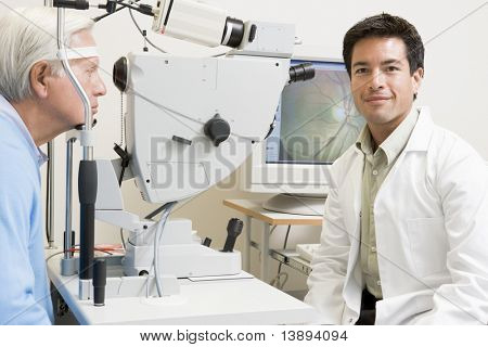 Doctor And Patient Ready For An Eye Exam