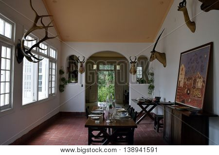 SAN FRANCISCO DE PAULA CUBA - JUNE 10th 2016: Ernest Hemingway's house Finca Vigia near Havana Cuba. It is now a museum. Most of