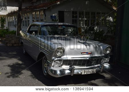 SAN FRANCISCO DE PAULA CUBA - JUNE 10th 2016: Ernest Hemingway's Chevrolet car at his house Finca Vigia near Havana Cuba. It is now a museum. Most of
