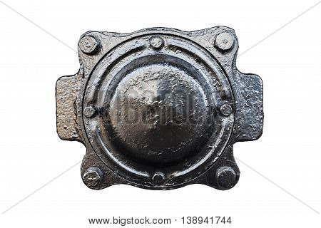 black metal lid isolated on white background