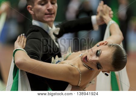 Minsk Belarus -May 28 2016: Mitunevich Maksim and Serpokrylova Aleksandra perform Youth-2 Standard Program on National Championship of the Republic of Belarus in May 28 2016 in Minsk Belarus