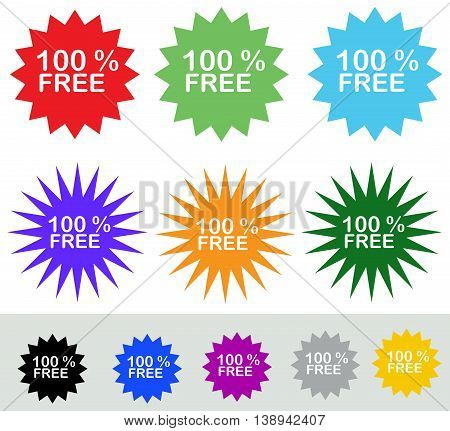 Different colorful symbol 100 % free isolated on white background