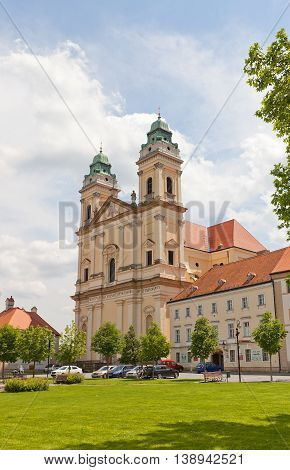 VALTICE CZECH REPUBLIC - MAY 29 2016: Church of the Annunciation of the Virgin Mary (circa 17th c.) in Valtice Czech Republic. UNESCO site