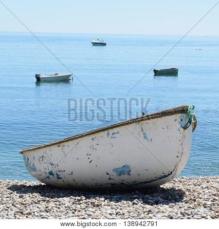 Boats on Jurassic Coast in Beer, Devon
