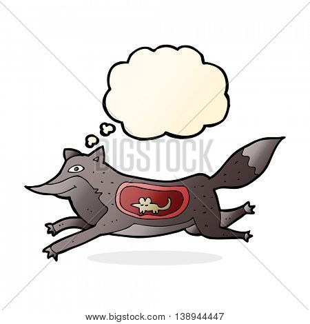 cartoon wolf with mouse in belly with thought bubble